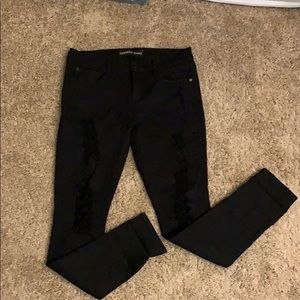 Express Mid Rise Ripped Jeans